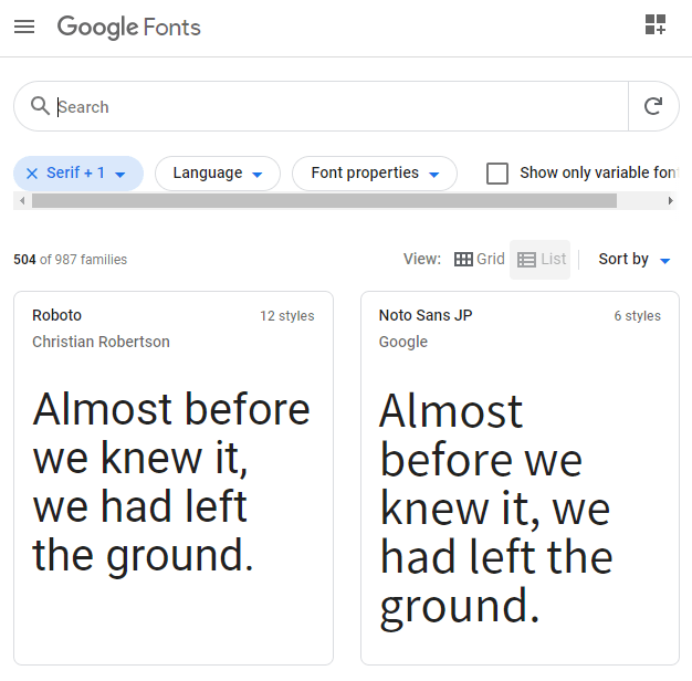 Google Fonts トップページ