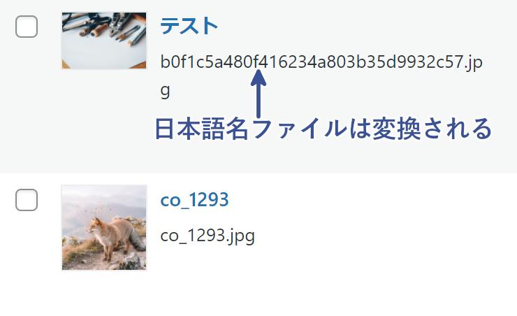 日本語名ファイルは変換される