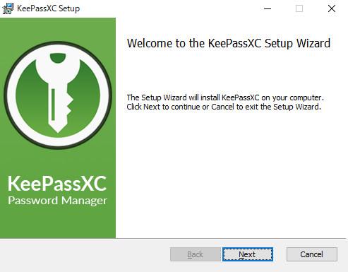KeePassXCのインストール開始